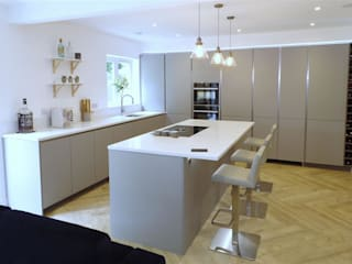 Pearl Grey Kitchen with Miami White island and.. HIDDEN door! by PTC Kitchens Scandinavian