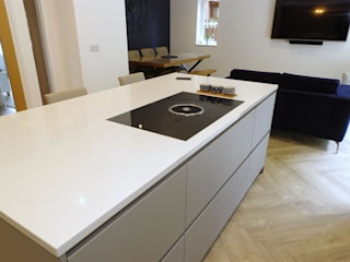 Pearl Grey Kitchen with Miami White island and.. HIDDEN door! PTC Kitchens Cucinino Grigio