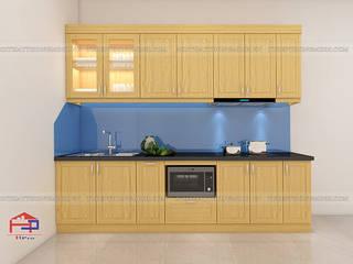 Công trình tủ bếp gỗ sồi nga nhà anh Long - Hồ Tùng Mậu Nội thất Hpro KitchenCabinets & shelves Wood effect