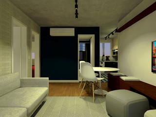 Apartamento do Victor: Salas de estar  por OBARQ,Minimalista