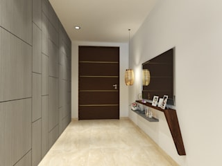 Apartment at DLF The Crest, Golf Course Road Modern corridor, hallway & stairs by The Workroom Modern