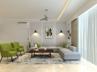 Apartment at DLF The Crest, Golf Course Road Modern living room by The Workroom Modern