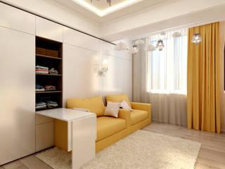 Желтая детская для двух девочек: Детские комнаты в . Автор – Цунёв_Дизайн. Студия интерьерных решений.