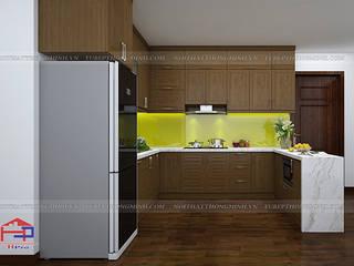Công trình tủ bếp gỗ sồi mỹ nhà anh Đại - An Bình City Nội thất Hpro KitchenCabinets & shelves Wood effect
