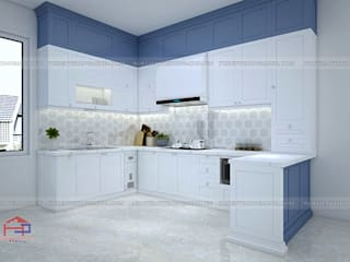 Công trình tủ bếp acrylic kết hợp MDF lõi xanh sơn bệt nhà anh Đạt - Đông Anh Nội thất Hpro KitchenCabinets & shelves Multicolored