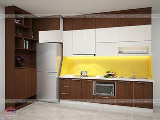 Công trình tủ bếp laminate nhà anh Trung - Nguyễn Chánh Nội thất Hpro KitchenCabinets & shelves Multicolored