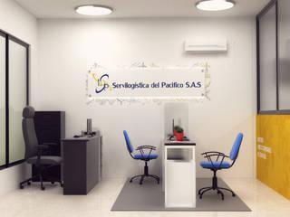 Diseño de oficina para servilogistica del pacifico.:  de estilo  por Magrev - Diseño y construcción de espacios.,