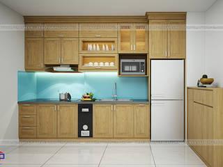 Công trình tủ bếp gỗ sồi mỹ nhà chị Hằng - Bắc Ninh Nội thất Hpro KitchenCabinets & shelves Wood effect