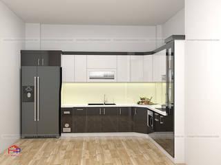 Công trình tủ bếp acrylic và nội thất phòng khách gỗ melamine nhà anh Hòa - 106 Lê Lợi, Lạng Sơn Nội thất Hpro KitchenCabinets & shelves Multicolored