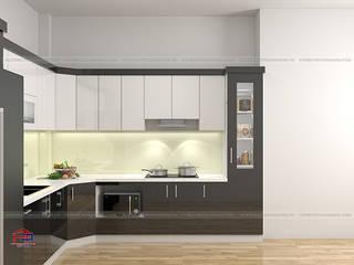 Công trình tủ bếp acrylic và nội thất phòng khách gỗ melamine nhà anh Hòa - 106 Lê Lợi, Lạng Sơn: hiện đại  by Nội thất Hpro, Hiện đại