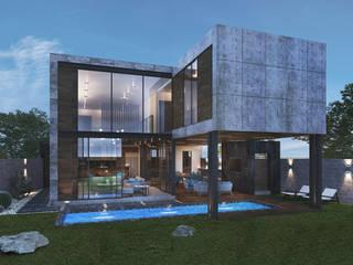 Residencia LA [León, Gto.] 3C Arquitectos S.A. de C.V. Casas unifamiliares Concreto reforzado Gris