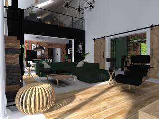 Projekt domu jednorodzinnego : styl , w kategorii Salon zaprojektowany przez KADA WNĘTRZA S.C.