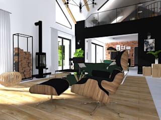 Projekt domu jednorodzinnego Industrialny salon od KADA WNĘTRZA S.C. Industrialny