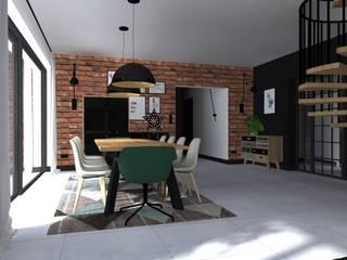 Projekt domu jednorodzinnego : styl , w kategorii Jadalnia zaprojektowany przez KADA WNĘTRZA S.C.