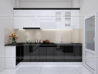 Công trình tủ bếp laminate và nội thất phòng ngủ gỗ melamine nhà chị Vân - La Phù, Hoài Đức Nội thất Hpro KitchenCabinets & shelves Multicolored