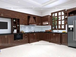 Công trình tủ bếp gỗ óc chó nhà chú Thịnh - Số 85 Ngõ 151 Láng Hạ Nội thất Hpro KitchenCabinets & shelves Wood effect