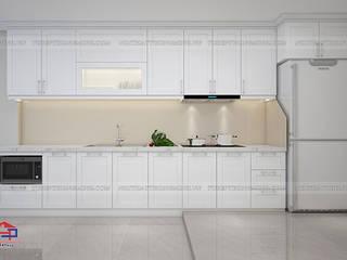 Công trình tủ bếp MDF lõi xanh sơn trắng nhà anh Hiệp – Ngõ Tức Mặc Trần Hưng Đạo Nội thất Hpro KitchenCabinets & shelves White