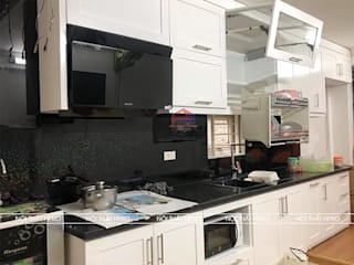 Công trình tủ bếp MDF lõi xanh sơn trắng nhà anh Hiệp – Ngõ Tức Mặc Trần Hưng Đạo Nội thất Hpro KitchenCabinets & shelves Multicolored