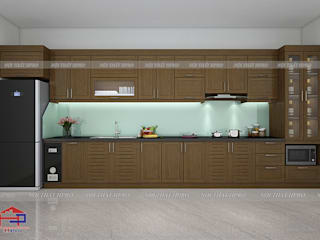 Công trình tủ bếp gỗ sồi mỹ nhà anh Tuấn Anh - Ý Yên, Nam Định Nội thất Hpro KitchenCabinets & shelves Wood effect