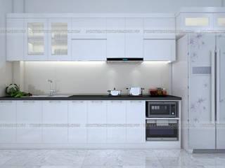 Công trình tủ bếp acrylic thùng tủ inox 304 cao cấp nhà anh Tùng - Lạc Long Quân : hiện đại  by Nội thất Hpro, Hiện đại