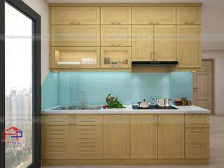 Công trình tủ bếp gỗ sồi nga và nội thất gỗ công nghiệp An Cường nhà anh Long - 62 Nguyễn Đức Cảnh Nội thất Hpro KitchenCabinets & shelves Wood effect