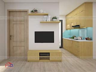 Công trình tủ bếp gỗ sồi nga và nội thất gỗ công nghiệp An Cường nhà anh Long - 62 Nguyễn Đức Cảnh Nội thất Hpro Living roomTV stands & cabinets Wood effect