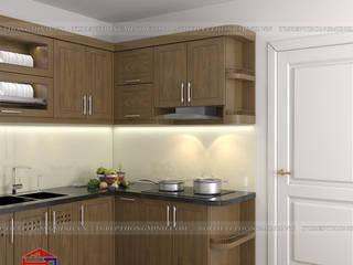 Công trình tủ bếp gỗ sồi mỹ nhà chú Lập – 111 ngách 63 ngõ 173 Hoàng Hoa Thám Nội thất Hpro KitchenCabinets & shelves Wood effect