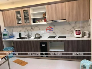 Công trình tủ bếp laminate nhà chú Tuấn - Nguyễn Sơn Nội thất Hpro KitchenCabinets & shelves Wood effect