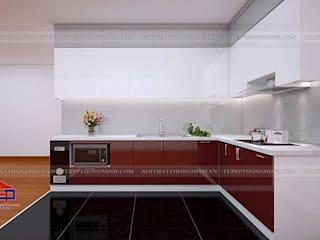 Công trình tủ bếp acrylic nhà anh Hoàng - P706 Chung cư 42 Đại Từ: hiện đại  by Nội thất Hpro, Hiện đại