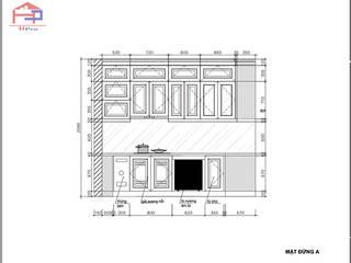 Công trình tủ bếp gỗ sồi nga và nội thất gỗ sồi nga nhà cô Thúy - P2305 Chung cư 99 Láng Hạ Nội thất Hpro KitchenCabinets & shelves Wood effect