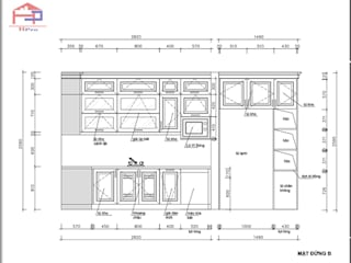 Công trình tủ bếp gỗ sồi nga và nội thất gỗ sồi nga nhà cô Thúy - P2305 Chung cư 99 Láng Hạ: hiện đại  by Nội thất Hpro, Hiện đại