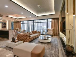 Ritz Carlton Residence Kuala Lumpur:  Living room by Blaine Robert Design Sdn. Bhd.,