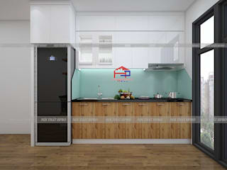 Công trình tủ bếp acrylic kết hợp laminate nhà anh Tú - P2401 Osaka Complex Ngọc Hồi: hiện đại  by Nội thất Hpro, Hiện đại