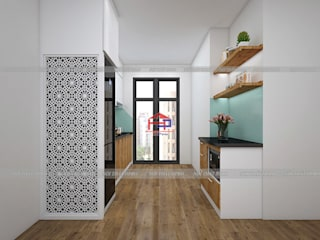 Công trình tủ bếp acrylic kết hợp laminate nhà anh Tú - P2401 Osaka Complex Ngọc Hồi Nội thất Hpro KitchenCabinets & shelves Multicolored