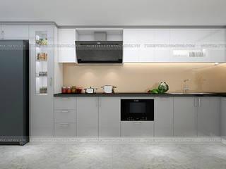 Công trình tủ bếp acrylic nhà anh Thành - Thụy Khuê Nội thất Hpro KitchenCabinets & shelves Multicolored
