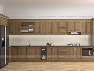 Công trình tủ bếp gỗ sồi mỹ nhà chị Thập - Thủy Nguyên, Hải Phòng Nội thất Hpro KitchenCabinets & shelves Wood effect