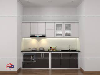 Công trình tủ bếp acrylic và nội thất phòng ngủ gỗ An Cường nhà chị Hướng - Thổ Tang, Vĩnh Phúc Nội thất Hpro KitchenCabinets & shelves Multicolored