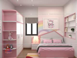 Công trình tủ bếp acrylic và nội thất phòng ngủ gỗ An Cường nhà chị Hướng - Thổ Tang, Vĩnh Phúc Nội thất Hpro BedroomBeds & headboards Multicolored