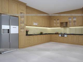 Công trình tủ bếp gỗ sồi nga màu vàng sáng nhà anh Nam - 87 Hoàng Quốc Việt: hiện đại  by Nội thất Hpro, Hiện đại