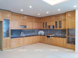 Công trình tủ bếp gỗ sồi nga màu vàng sáng nhà anh Nam - 87 Hoàng Quốc Việt Nội thất Hpro KitchenCabinets & shelves Wood effect