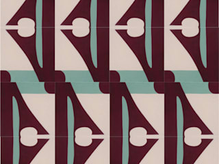 Cement tile with abstract  design :  Floors by Karolyn Morovati, Modern