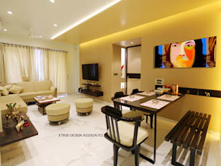 3bhk contemporary apartment in Mumbai Eclectic style living room by Xtrud designs associates Eclectic