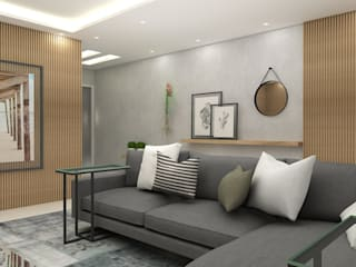 Arquiteto Virtual - Projetos On lIne Ruang Keluarga Modern Kayu Grey