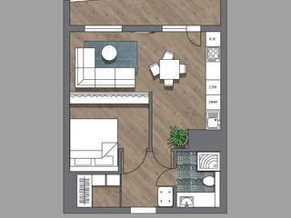 2-комнатная квартира в ЖК Облака г.Энгельс:  в современный. Автор – Molyako Design, Модерн