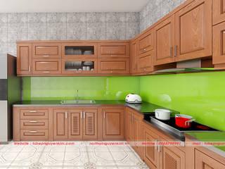 Màu kính ốp bếp cho tủ bếp hiện đại theo phong thủy bởi Nội thất Nguyễn Kim