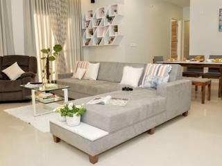 3BHK, Raheja Vistas, NIBM road Minimalist living room by Design Evolution Lab Minimalist