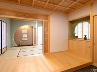 玄関と客間は品格のある格天井 四世代が同居する和風二世帯住宅: 株式会社菅野企画設計が手掛けたアジア人です。,和風