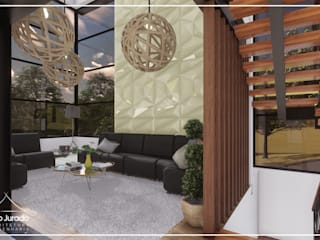 Juan Jurado Arquitetura & Engenharia Salon moderne Verre Beige
