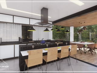 Juan Jurado Arquitetura & Engenharia Salle à manger rustique Bois Blanc