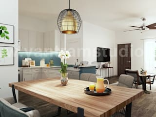 Creative Kitchens, Living room with dining area Interior Design Ideas by Architectural and Design Services:  Built-in kitchens by Yantram Architectural Animation Design Studio Corporation, Modern